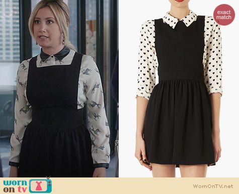 The Crazy Ones Style: Topshop Pinafore Dress worn by Ashley Tisdale