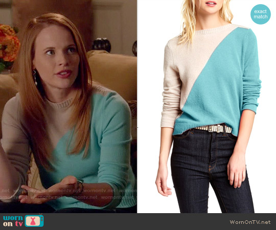 Cullen Diagonal Colorblock Cashmere Sweater worn by Katie Leclerc on Switched at Birth