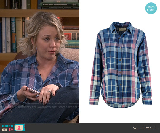 Current/Elliott The Prep School Plaid Cotton Shirt worn by Kaley Cuoco on The Big Bang Theory