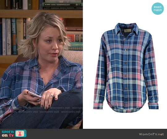 Current Elliott The Prep School Plaid Cotton Shirt worn by Kaley Cuoco on The Big Bang Theory