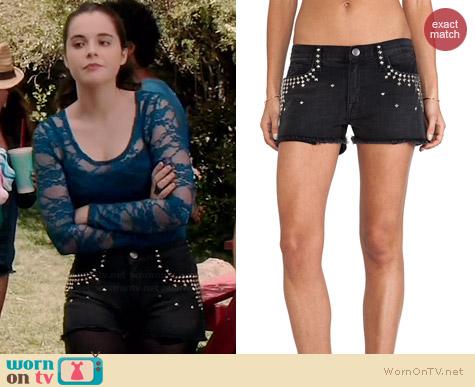 Current/Elliott Boyfriend Shorts with Studs worn by Vanessa Marano on Switched at Birth