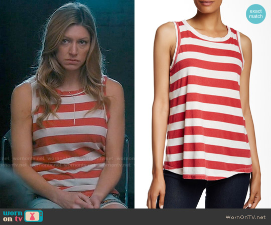 Current/Elliott The Cross-Back Muscle Tee in Red Boating Stripe worn by Jes Macallan on Mistresses