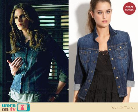 Current/Elliott Denim Mechanic Jacket in Dare Devil worn by Stana Katic on Castle