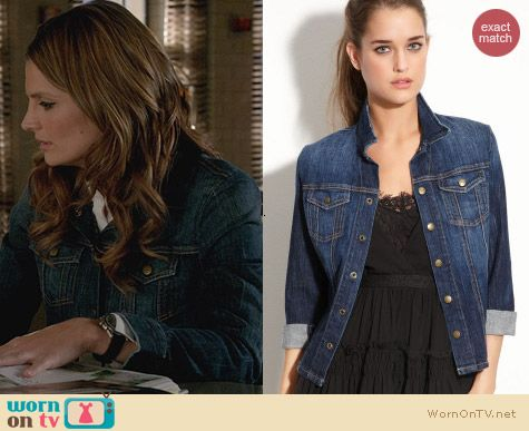 Current/Elliott Denim Mechanic Jacket worn by Stana Katic on Castle