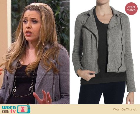 Current/Elliott Easy Biker Jacket worn by Majandra Delfino on FWBL