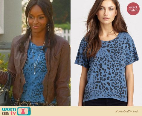 Current/Elliott The Freshman Tee in Blue Leopard worn by Antoinette Robertson on Hart of Dixie