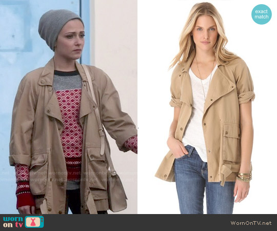Current Elliott The Infantry Jacket in Dune worn by Italia Ricci on Chasing Life