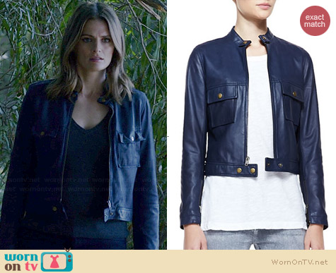 Current/Elliott Leather Front Zip Moto Jacket worn by Stana Katic on Castle