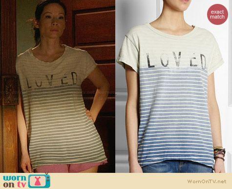 Current/Elliott Loved Distressed Tshirt worn by Lucy Liu on Elementary