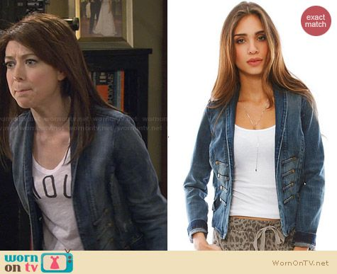Current/Elliott Majorette Denim Jacket worn by Alyson Hannigan on HIMYM