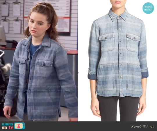 Current/Elliott The Patch Pocket Shirt in Dreamer Stripe worn by Kaitlyn Dever on Last Man Standing
