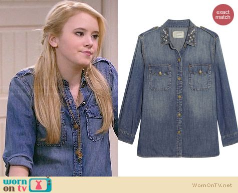 Current/Elliott Perfect Denim Shirt with Studded Collar worn by Taylor Sprietler on Melissa & Joey