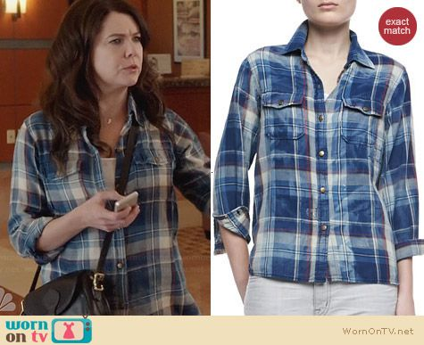 Current/Elliott Perfect Shirt in Trestles with Repair worn by Lauren Graham on Parenthood