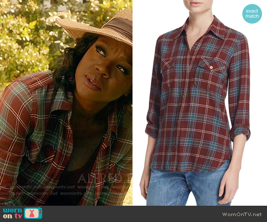 Current Elliott The Perfect Shirt in Lincoln Plaid worn by Viola Davis on HTGAWM