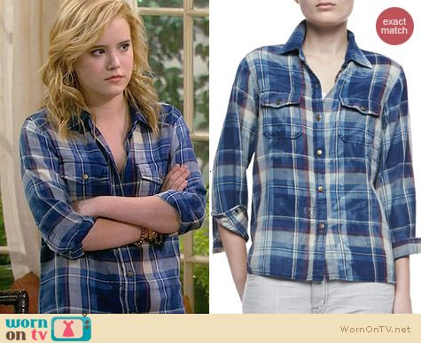 Current/Elliott Perfect Shirt in Tresles with Repair worn by Taylor Sprietler on Melissa & Joey