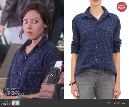 Current/Elliott The Prep School Shirt in Ditsy Print worn by Aubrey Plaza on Parks & Rec