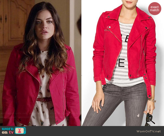 Current Elliott Moto Jacket in Red worn by Aria Montgomery on PLL
