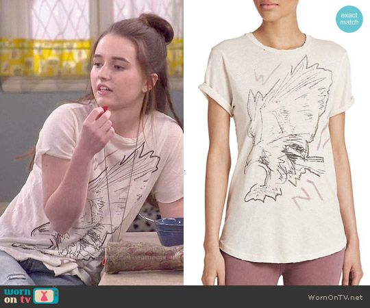 Current Elliott The Rolled-Sleeve Tee in Vintage White Post Modern Eagle worn by Kaitlyn Dever on Last Man Standing