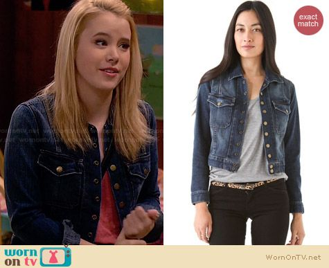 Current Elliott Snap Denim Jacket worn by Taylor Sprietler on Melissa & Joey