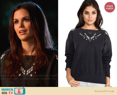 Current/Elliott Studded Stadium Sweatshirt worn by Rachel Bilson on Hart of Dixie