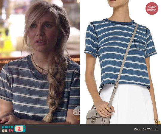 Current/Elliott Striped Cropped Tee in Castaway worn by Clare Bowen on Nashville