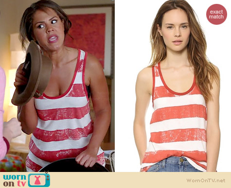 Current Elliott The Athletic Tank in Scarlet Stripe worn by Lenora Crichlow on A to Z
