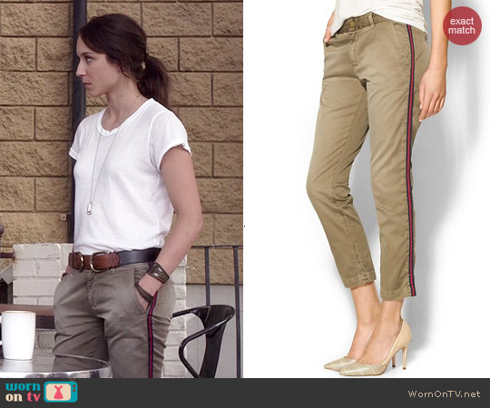 Current/Elliott The Buddy Trousers in Army Green w/ Stripe worn by Troian Bellisario on PLL