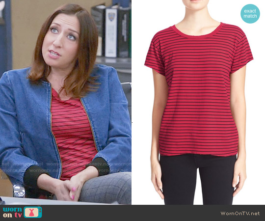 Current/Elliott The Crewneck Stripe Tee in Blazing Red Oakland Stripe worn by Gina Linetti on Brooklyn Nine-Nine