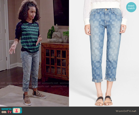 Current Elliott 'The Fling' Patchwork Boyfriend Jeans worn by Yara Shahidi on Blackish
