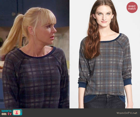 Current/Elliott The Letterman Destroyed Plaid Sweatshirt worn by Anna Faris on Mom