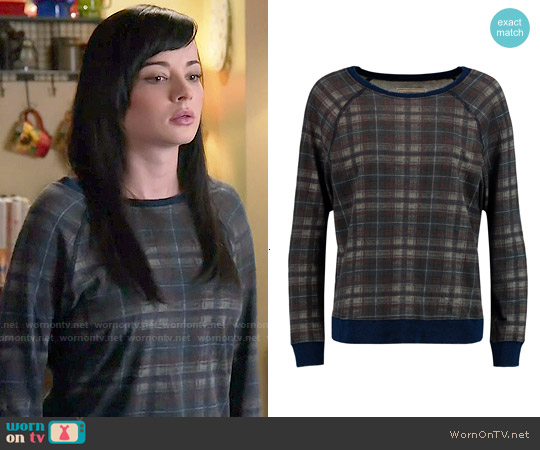 Current/Elliott The Letterman Destroyed Plaid Sweatshirt worn by Ashley Rickards on Awkward