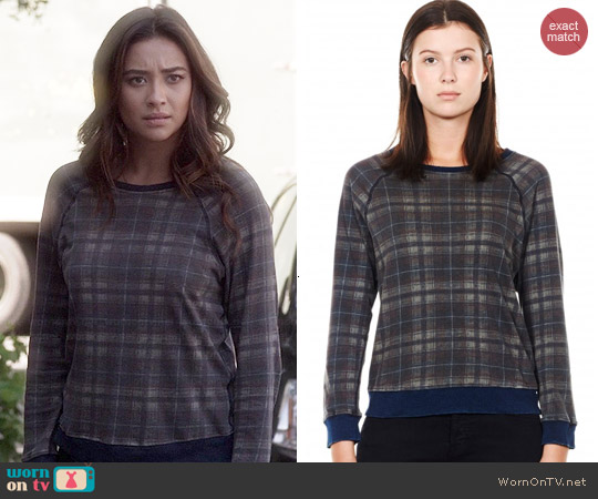 Current/Elliott The Letterman Destroyed Plaid Sweatshirt worn by Shay Mitchell on PLL