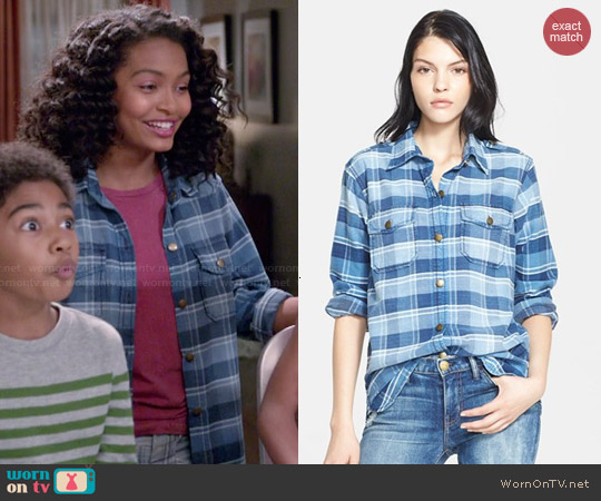 Current Elliott 'The Perfect Shirt' Plaid Shirt in Reflektor Plaid worn by Yara Shahidi on Blackish