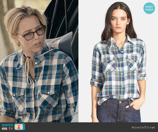 Current Elliott The Perfect Plaid Shirt in Dixie Plaid worn by Téa Leoni on Madam Secretary