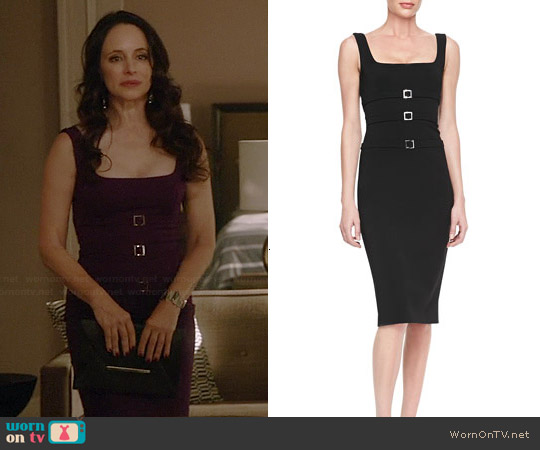 Cushnie Et Ochs Buckled Power Sheath Dress worn by Madeleine Stowe on Revenge