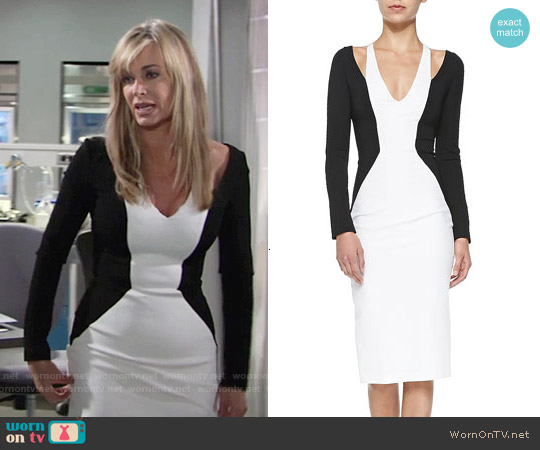 Cushnie et Ochs Cold-Shoulder Colorblock Jersey Dress worn by Eileen Davidson on The Young & the Restless