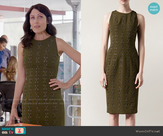 Cushnie et Ochs Lace Up Detailing Dress worn by Lisa Edelstein on GG2D