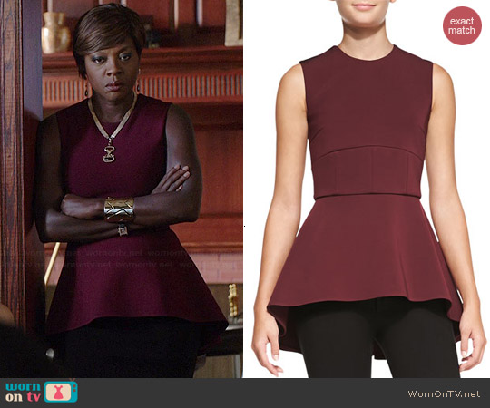 Cushnie et Ochs Sleeveless Peplum Tunic Top worn by Viola Davis on HTGAWM