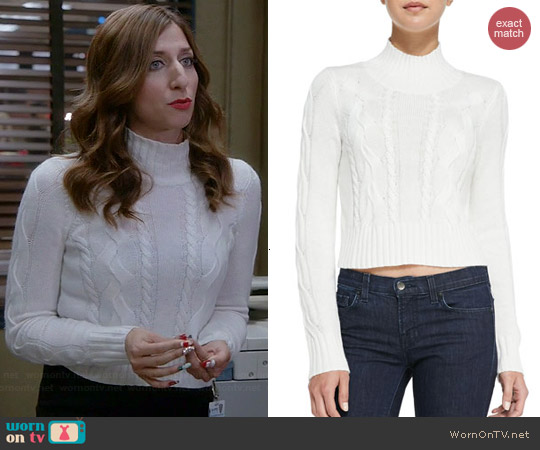 Cusp by Neiman Marcus Cable-Knit Mock Turtleneck Crop Sweater worn by Chelsea Peretti on Brooklyn 99