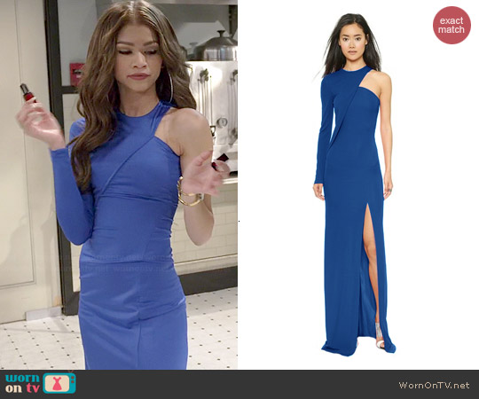 Cut 25 by Yigal Azrouel One Shoulder Long Sleeve Gown worn by Zendaya on KC Undercover