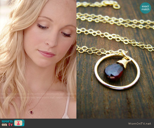 CYDesignStudio Garnet Gemstone Wire Wrapped Briolette Teardrop Necklace worn by Caroline Forbes on The Vampire Diaries
