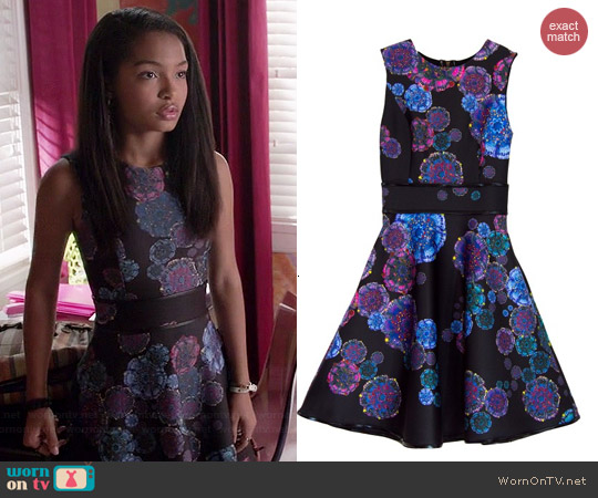 Cynthia Rowley Bonded Party Dress in Moon Flower worn by Yara Shahidi on Black-ish