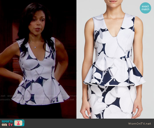 Cynthia Rowley Bonded Peplum Top worn by Karla Mosley on The Bold & the Beautiful