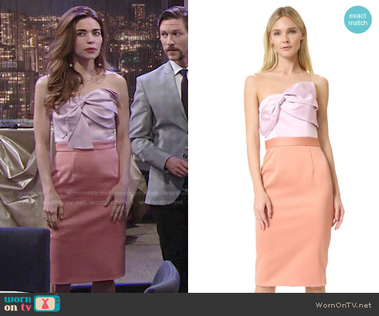Cynthia Rowley Strapless Bow Dress worn by Amelia Heinle on The Young & the Restless