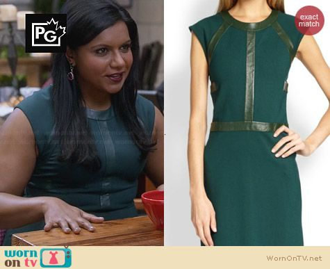 Cynthia Rowley Leather Detail Dress worn by Mindy Kaling on The Mindy Project