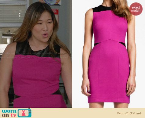 Cynthia Steffe Isla Leather Ponte Dress in Pink worn by Jenna Ushkowitz on Glee