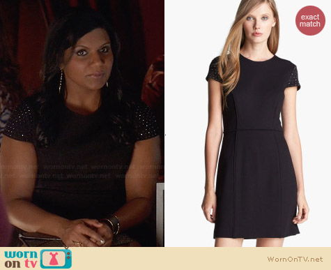 Cynthia Steffe Rebel Studded Shoulder Dress worn by Mindy Kaling on The Mindy Project