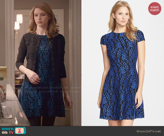 Cynthia Steffe 'Textured Rose' Lace Fit & Flare Dress worn by Wallis Currie-Wood on Madam Secretary