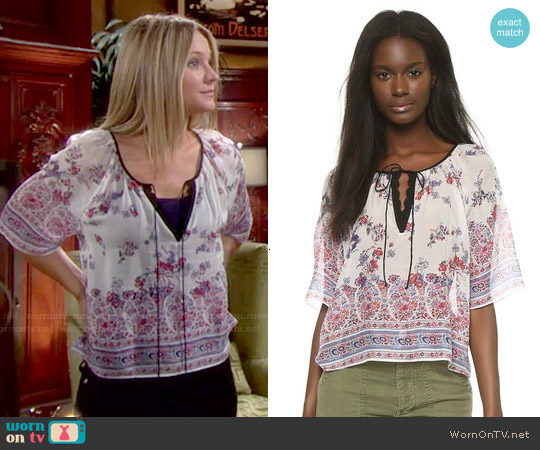 Twelfth Street by Cynthia Vincent Peasant Crop Top worn by Sharon Case on The Young & the Restless