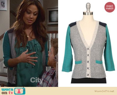 Fashion of Dads: Autumn Cashmere Colorblock cardigan worn by Vanessa Lachey